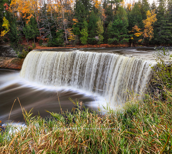 A very picturesque waterfall with Slight motion blur, Tahquamenon Falls in Autumn, Michigan's Upper Peninsula, USA