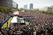 Democratic Presidential candidate Barack Obama speaks to an estimated crowd of over 20,000 on the Halifax Mall in Raleigh, Wed., Oct. 29, 2008.