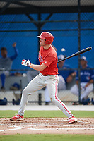 Philadelphia Phillies Greg Pickett (28) follows through on a swing during an Instructional League game against the Toronto Blue Jays on October 7, 2017 at the Englebert Complex in Dunedin, Florida.  (Mike Janes/Four Seam Images)
