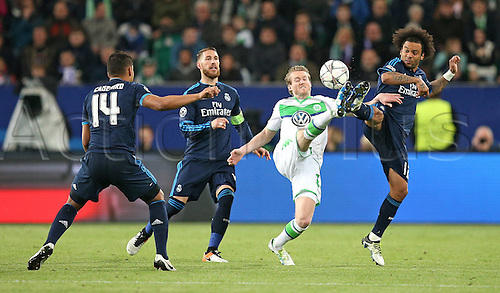 06.04.2016. Wolfsburg, Geramny. UEFA Champions League quarterfinal. VfL Wolfsburg versus Real Madrid.  Casemiro (Real Madrid)  Sergio Ramos (Real Madrid) close out Andre Schurrle (Wolfsburg) helped by Marcelo (Real Madrid)