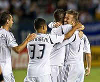 CARSON, CA - September 1, 2012: LA Galaxy midfielder David Beckham (23) celebrates his goal with teammates during the LA Galaxy vs the Vancouver Whitecaps FC at the Home Depot Center in Carson, California. Final score LA Galaxy 2, Vancouver Whitecaps FC 0.
