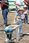 Jace Nelson competes in the Pee-Wee Dummy Roping of the 38th Annual Fallon Junior Rodeo.  Photo by Tom Smedes.