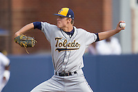 Toledo Rockets pitcher Alex Wagner (28) delivers a pitch to the plate against the Michigan Wolverines on April 20, 2016 at Ray Fisher Stadium in Ann Arbor, Michigan. Michigan defeated Bowling Green 2-1. (Andrew Woolley/Four Seam Images)