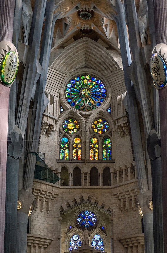 Stained glass window, Basilica Sagrada Família, Barcelona, Spain