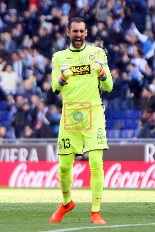 League Santander 2016/2017. Game: 24.<br /> RCD Espanyol vs CA Osasuna: 3-0.<br /> Diego Lopez.
