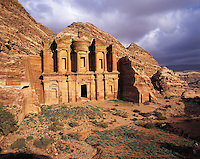 The ornate carved rock-tomb known as The Monastery (El Deir), Petra, Jorda