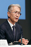 Kenichiro Yoshida, chief financial officer of Sony Corp., announces the company's financial result for the second quarter ending September 30 at the Sony headquarters on October 31, 2017, Tokyo, Japan. Sony reported that 4.2 million units of PlayStation4 were shipped to retailers,bringing the total to 67.5 million units shipped in the console's lifetime. (Photo by Rodrigo Reyes Marin/AFLO)