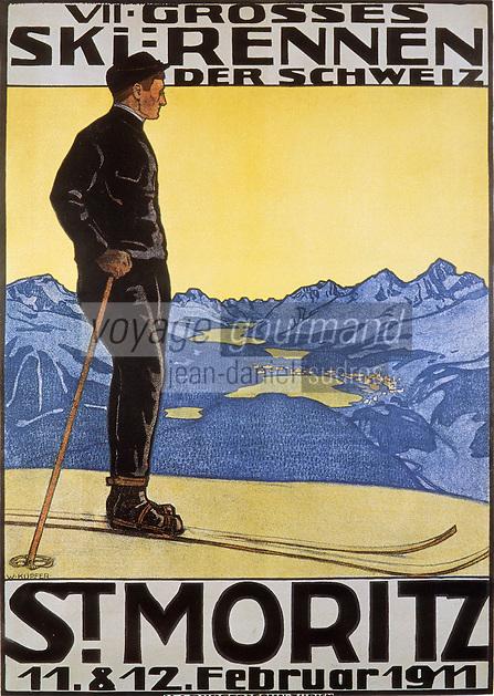 Europe/Suisse/Engadine/St-Moritz: Vieille affiche de la station de sports d'hiver - le skieur