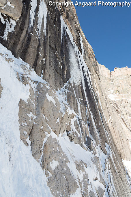 Icefall # 1 on the Diamond, Long's Peak, Rocky Mountain National Park.  Minutes earlier, climbers were ascending this ice formation.