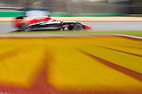 March 14, 2014: Max Chilton (GBR) from the Marussia F1 Team rounds turn three during practice session one at the 2014 Australian Formula One Grand Prix at Albert Park, Melbourne, Australia. Photo Sydney Low.