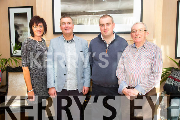 Teresa Looney, with Sean Marshal, Shane O'Connell and Chairman Connie Brosnan, who have had Bone Marrow, Heart Transplant and Kidney Transplant enjoying the Irish Kidney Association Christmas Party at Ballygarry House Hotel on Sunday