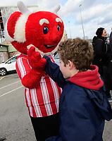 Lincoln City mascot Poacher the Imp with fans before kick off<br /> <br /> Photographer Chris Vaughan/CameraSport<br /> <br /> The EFL Sky Bet League Two - Lincoln City v Northampton Town - Saturday 9th February 2019 - Sincil Bank - Lincoln<br /> <br /> World Copyright &copy; 2019 CameraSport. All rights reserved. 43 Linden Ave. Countesthorpe. Leicester. England. LE8 5PG - Tel: +44 (0) 116 277 4147 - admin@camerasport.com - www.camerasport.com