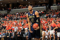 Georgia Tech forward Robert Sampson (13) reacts after turning over the ball during an NCAA basketball game against Virginia Thursday Jan. 22, 2015, in Charlottesville, Va. Virginia defeated Georgia Tech 57-28. (Photo/Andrew Shurtleff)