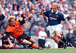 Rangers v Dundee Utd 23.8.97:  Jonas Thern skips past Dave Bowman
