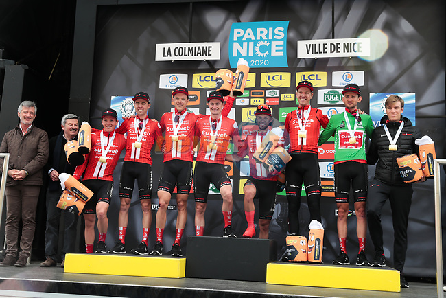 Team Sunweb win the team classification at the end of Stage 7 of the 78th edition of Paris-Nice 2020, running 166.5km from Nice to Valdeblore La Colmiane, France. 14th March 2020.<br /> Picture: ASO/Fabien Boukla | Cyclefile<br /> All photos usage must carry mandatory copyright credit (© Cyclefile | ASO/Fabien Boukla)