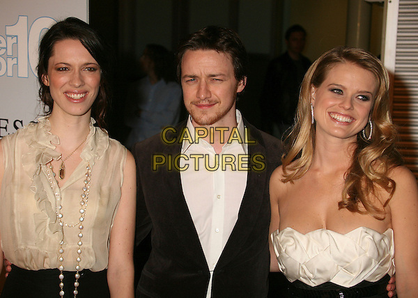 "REBECCA HALL, JAMES McAVOY & ALICE EVE .""Starter For 10"" Los Angeles Premiere at ArcLight Cinemas, Hollywood, California, USA..February 6th, 2007.half length black suit cream beige strapless belt dress top blouse.CAP/ADM/BP.©Byron Purvis/AdMedia/Capital Pictures"