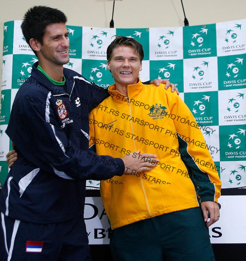 Tenis, Davis Cup, Serbia Vs. Australia.Davis Cup draw.Novak Djokovic and Peter Luczak.Belgrade, 20.09.2007..foto; Srdjan Stevnovic