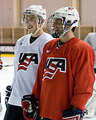 Vinny Saponari (US White - 20), Kyle Palmieri (US White - 11) - US players take part in practice on Friday morning, August 8, 2008, in the NHL Rink during the 2008 US National Junior Evaluation Camp and Summer Hockey Challenge in Lake Placid, New York.