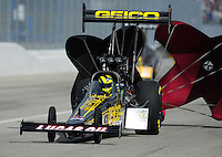 Feb. 12, 2012; Pomona, CA, USA; NHRA top fuel dragster driver Morgan Lucas during the Winternationals at Auto Club Raceway at Pomona. Mandatory Credit: Mark J. Rebilas-
