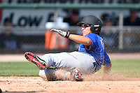 Dylon Poncho (1) of Kinder High School in Elton, Louisiana playing for the New York Mets scout team during the East Coast Pro Showcase on August 2, 2014 at NBT Bank Stadium in Syracuse, New York.  (Mike Janes/Four Seam Images)