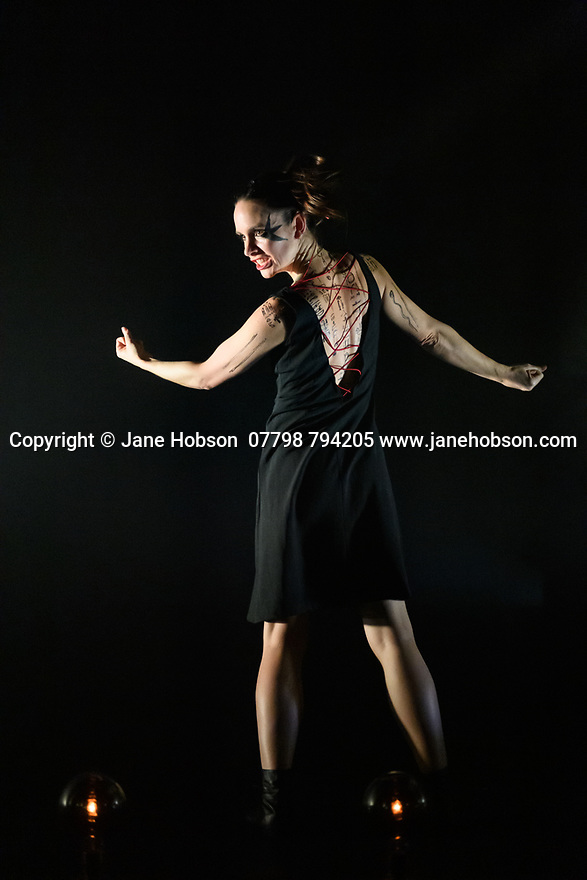 """London, UK. 27.02.20. Mark Bruce Company presents """"Return to Heaven"""", at Wilton's Music Hall. Written and choreographed by Mark Bruce, with costume design by Dorothee Brodruck, lighting design by Guy Hoare, and set design by Phil Eddolls. The dancers are: Jordi Calpe-Serrats, Eleanor Duval, Carina Howard, Dane Hurst, Sharol Mackenzie, Christopher Thomas. Picture shows: Eleanor Duval. Photograph © Jane Hobson."""