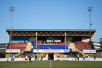 General view of Soccer AM Stadium during the Friendly match between Basingstoke Town and Wycombe Wanderers at The Camrose, Basingstoke, England on 28 July 2015. Photo by Andy Rowland.