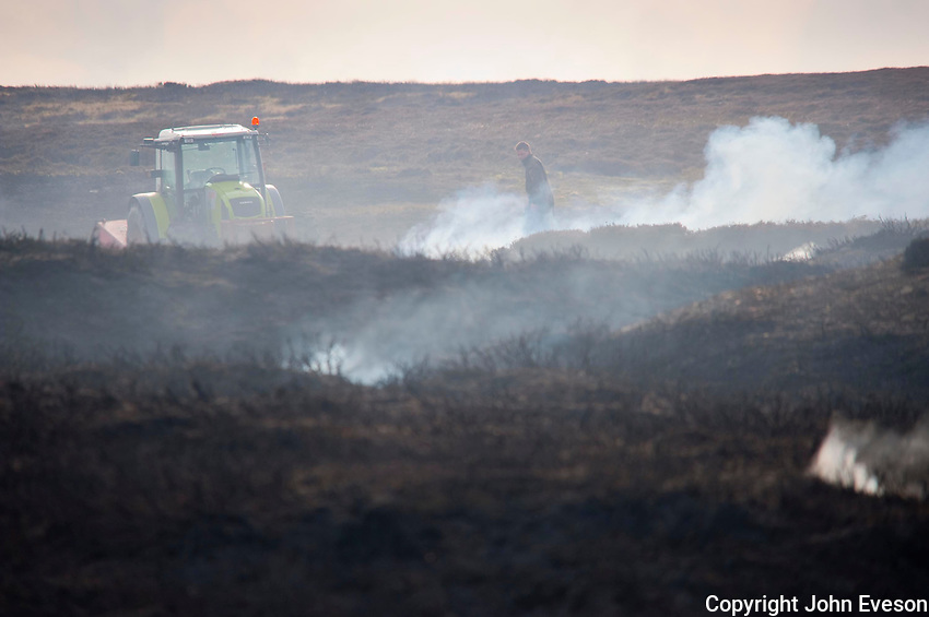 Burning heather moorland, Stanhope, Durham.