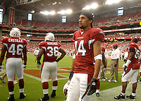 Aug 18, 2007; Glendale, AZ, USA; Arizona Cardinals wide receiver Todd Watkins (14) against the Houston Texans at University of Phoenix Stadium. Mandatory Credit: Mark J. Rebilas-US PRESSWIRE Copyright © 2007 Mark J. Rebilas