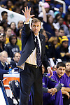 08 November 2013: High Point head coach Scott Cherry. The University of North Carolina Greensboro Spartans played the High Point University Panthers in a 2013-14 NCAA Division I men's college basketball game at the Greensboro Coliseum in Greensboro, North Carolina. UNCG won the game 82-74.