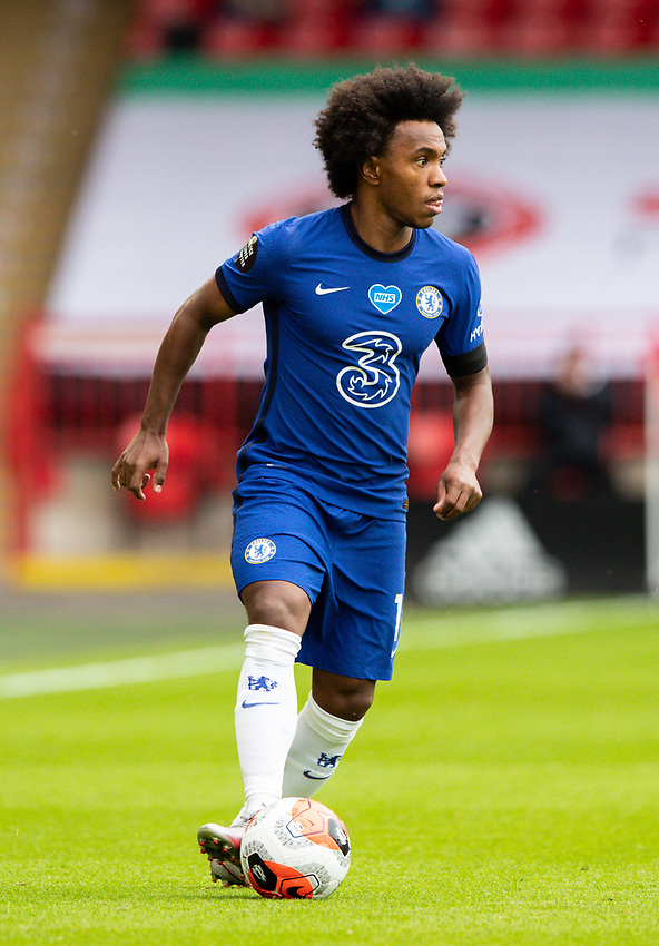 Chelsea's Willian in action<br /> <br /> Photographer Alex Dodd/CameraSport<br /> <br /> The Premier League - Sheffield United v Chelsea - Saturday 11th July 2020 - Bramall Lane - Sheffield<br /> <br /> World Copyright © 2020 CameraSport. All rights reserved. 43 Linden Ave. Countesthorpe. Leicester. England. LE8 5PG - Tel: +44 (0) 116 277 4147 - admin@camerasport.com - www.camerasport.com