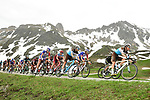 AG2R La Mondiale on the front of the peleton during Stage 7 of the 2018 Criterium du Dauphine 2018 running 136km from Moutiers to Saint Gervais Mont Blanc, France. 10th June 2018.<br /> Picture: ASO/Alex Broadway | Cyclefile<br /> <br /> <br /> All photos usage must carry mandatory copyright credit (© Cyclefile | ASO/Alex Broadway)