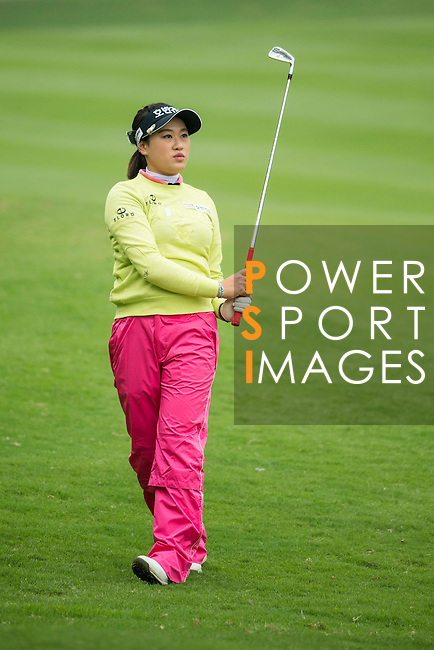 Han Sol Ji of South Korea plays a second shot at the 18th hole during Round 2 of the World Ladies Championship 2016 on 12 March 2016 at Mission Hills Olazabal Golf Course in Dongguan, China. Photo by Victor Fraile / Power Sport Images