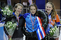 SHORTTRACK: AMSTERDAM: Jaap Edenhal, 04-01-2015, KPN NK Shorttrack, Podium Junioren C Meisjes, Nina Hogeveen, Martine de Boer, Danique van Lobenstein, ©foto Martin de Jong