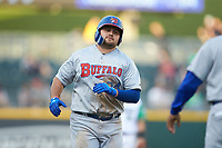 Rowdy Tellez (34) of the Buffalo Bisons rounds third base after hitting a home run against the Caballeros de Charlotte at BB&T BallPark on July 23, 2019 in Charlotte, North Carolina. The Bisons defeated the Caballeros 8-1. (Brian Westerholt/Four Seam Images)