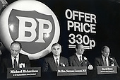 Chancellor of the Exchequer Norman Lamont launches the flotation of the state-owned BP oil company, Lancaster House, London.