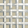 Paseo, a hand-cut stone mosaic, shown Raw Fiber glass, honed Allure, honed Calacatta, is part of the Illusions™ Collection by New Ravenna.