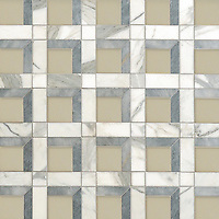 Paseo, a hand-cut stone mosaic, shown Raw Fiber glass, honed Allure, honed Calacatta, is part of the Illusions™ Collection by Sara Baldwin and Paul Schatz for New Ravenna.