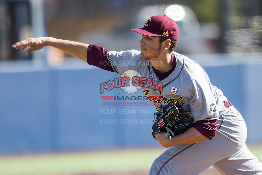 Central Michigan Chippewas pitcher Michael Brettell (34) delivers a pitch to the plate against the Michigan Wolverines on March 29, 2016 at Ray Fisher Stadium in Ann Arbor, Michigan. Michigan defeated Central Michigan 9-7. (Andrew Woolley/Four Seam Images)