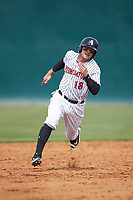 Michael Hickman (18) of the Kannapolis Intimidators hustles towards third base against the Lakewood BlueClaws at Kannapolis Intimidators Stadium on April 8, 2018 in Kannapolis, North Carolina.  The Intimidators defeated the BlueClaws 5-1 in game one of a double-header.  (Brian Westerholt/Four Seam Images)