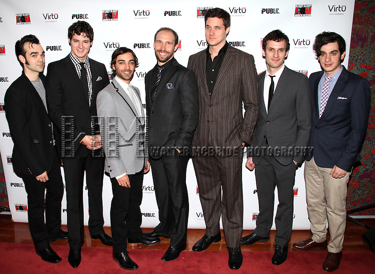 "Actors James Barry, Benjamin Walker, Ben Steinfeld, Joe Jung, Heath Calvert, Eli James and Justin Levine.attending the Opening Night Performance After Party for  ""BLOODY BLOODY ANDREW JACKSON"" at Brasserie 8 1/2 Restaurant  on October 13, 2010 in New York City..© Walter McBride / ."