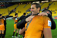 Jaguares head coach Gonzalo Quesada celebrates with Javier Ortega Desio after winning the Super Rugby match between the Hurricanes and Jaguares at Westpac Stadium in Wellington, New Zealand on Friday, 17 May 2019. Photo: Dave Lintott / lintottphoto.co.nz