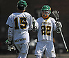 Zach LoCicero #22 of Lynbrook, right, congratulates teammate Ryan Candel #15 after he scored a goal in a Nassau County varsity boys lacrosse game against Wantagh at Marion Street Elementary School on Wednesday, Apr. 27, 2016. Candel tallied scored five goals while LoCicero recorded four goals and four assists in Lynbrook's 14-7 win.