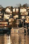 Seattle, Houseboats, Houses, Portage Bay, Capitol Hill, sunrise, Washington State, Pacific Northwest, United States,
