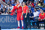 Alberto Diaz and coach Sergio Scariolo of Spain during the FIBA Basketball World Cup Qualifier match Spain against Latvia at Wizink Center in Madrid, Spain. September 17, 2018. (ALTERPHOTOS/Borja B.Hojas)