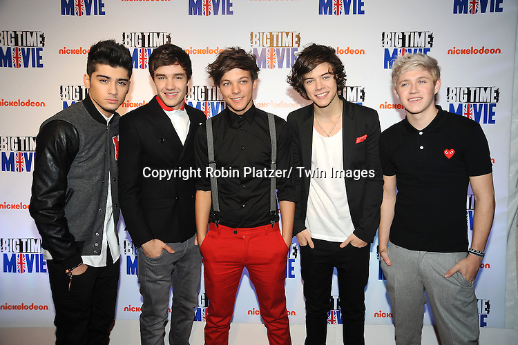 "singing group One Direction attends The movie premiere of "" Big Time Movie"" starring .Big Time Rush of Nickelodeon on March 8, 2012 at 583 Park Avenue in New York City."