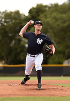 GCL Yankees 2 starting pitcher Chris Leroux (77), on rehab assignment, delivers a pitch during a game against the GCL Braves on June 23, 2014 at the Yankees Minor League Complex in Tampa, Florida.  GCL Yankees 2 defeated the GCL Braves 12-4.  (Mike Janes/Four Seam Images)
