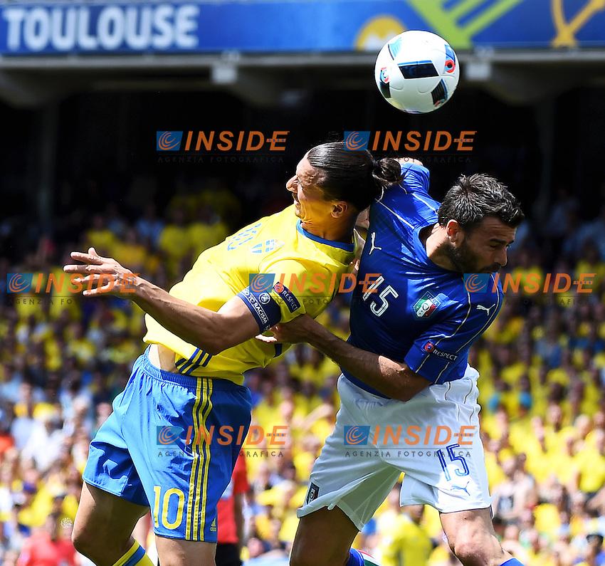 Zlatan Ibrahimovic Sweden Andrea Barzagli Italy <br /> Toulouse 17-06-2016 Stade de Toulouse <br /> Football Euro2016 Italy - Sweden / Italia - Svezia Group Stage Group E<br /> Foto Massimo Insabato / Insidefoto