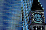 Clock tower bas-relief Old City Hall Toronto architecture buildings downtown Ontario Canada<br />
