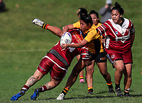 Maryjane Finau of Manurewa looks to offload. Premier Women's Rugby League, Papakura Sisters v Manurewa Wahine, Prince Edward Park, Auckland, Sunday 13th August 2017. Photo: Simon Watts / www.phototek.nz