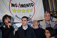 Parma:  Federico Pizzarotti del movimento 5 stelle appena eletto sindaco di Parma dopo il ballottaggio con il candidato del PD Vincenzo Bernazzoli